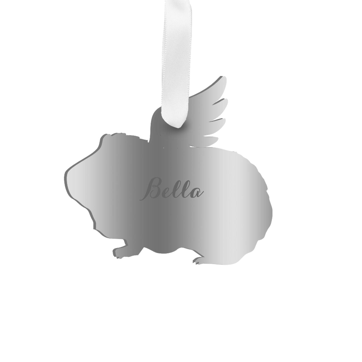Moon and Lola - Personalized Angel Guinea Pig Ornament with wings in silver