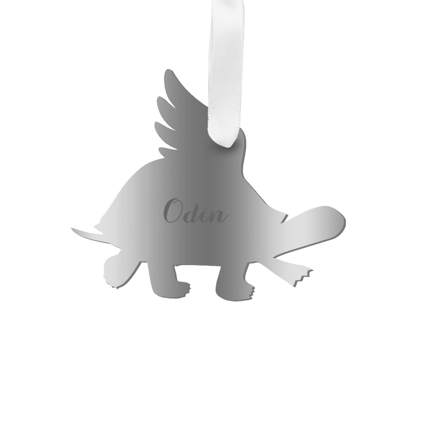 Moon and Lola - Personalized Angel Turtle Ornament with wings in silver