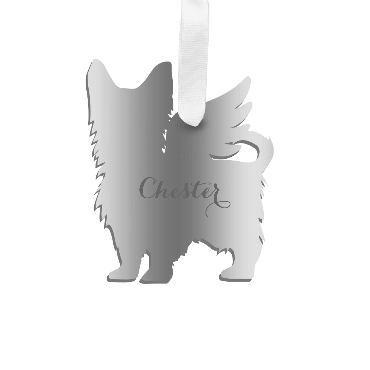 Moon and Lola - Personalized Angel Yorkshire Terrier Ornament with wings in silver
