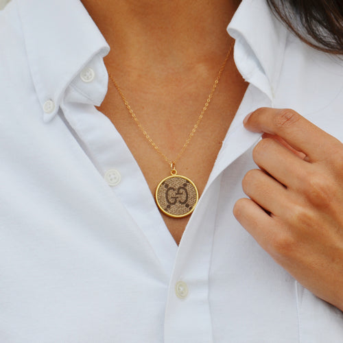 Moon and Lola - Goji Round Necklace on standard length gold Apex chain displayed on a model