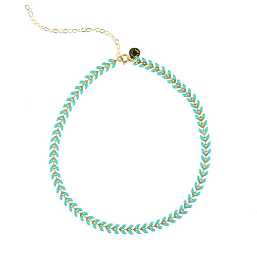 Moon and Lola Kwai River Choker - Enamel Leaves in Turquoise, White or Ebony