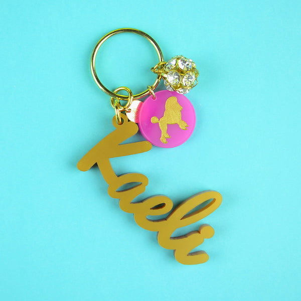 Moon and Lola - Nameplate Keychain with Charms