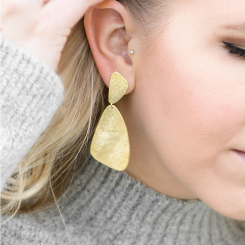 Moon and Lola - Nez Earrings brushed gold geometrics