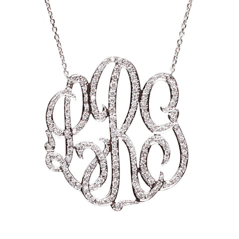 "Sample ""MSR"" Cheshire Handcut Monogram Rimmed Script Necklace"