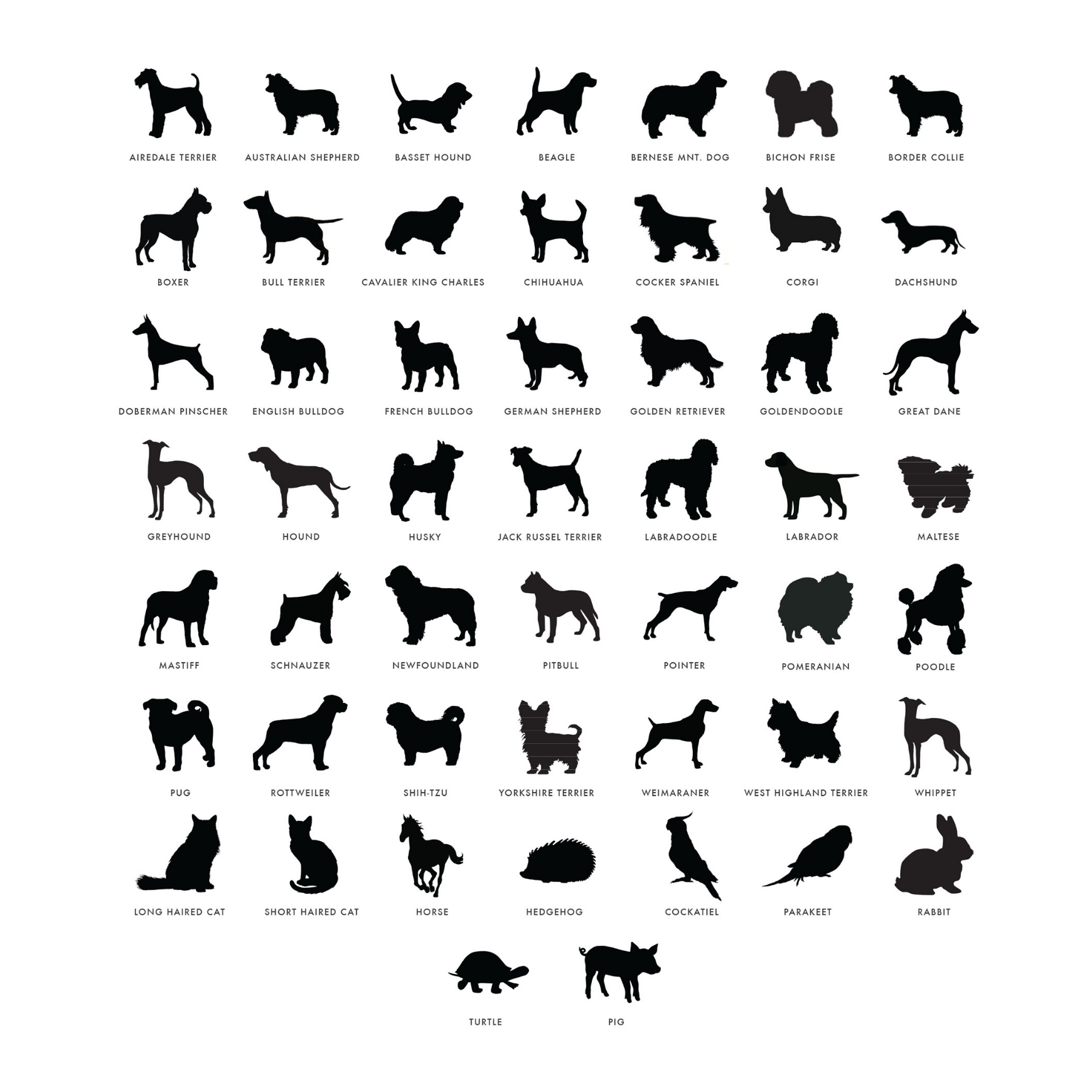 Moon and Lola Pet Breed Silhouettes
