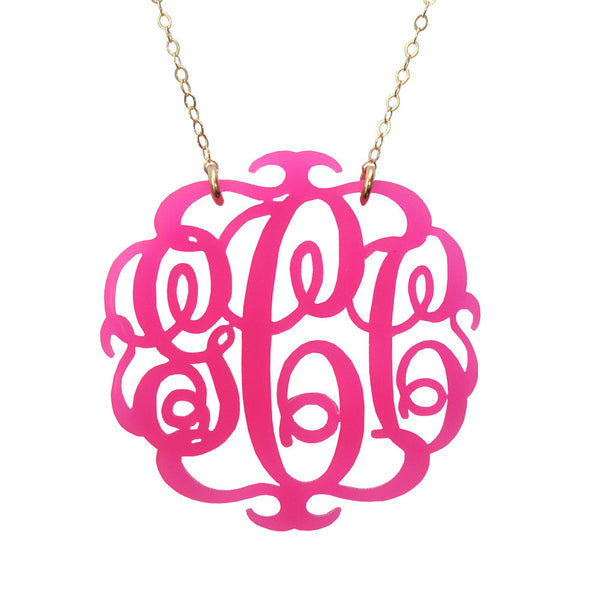 Moon and Lola - Paris Script Monogram Necklace Hot Pink