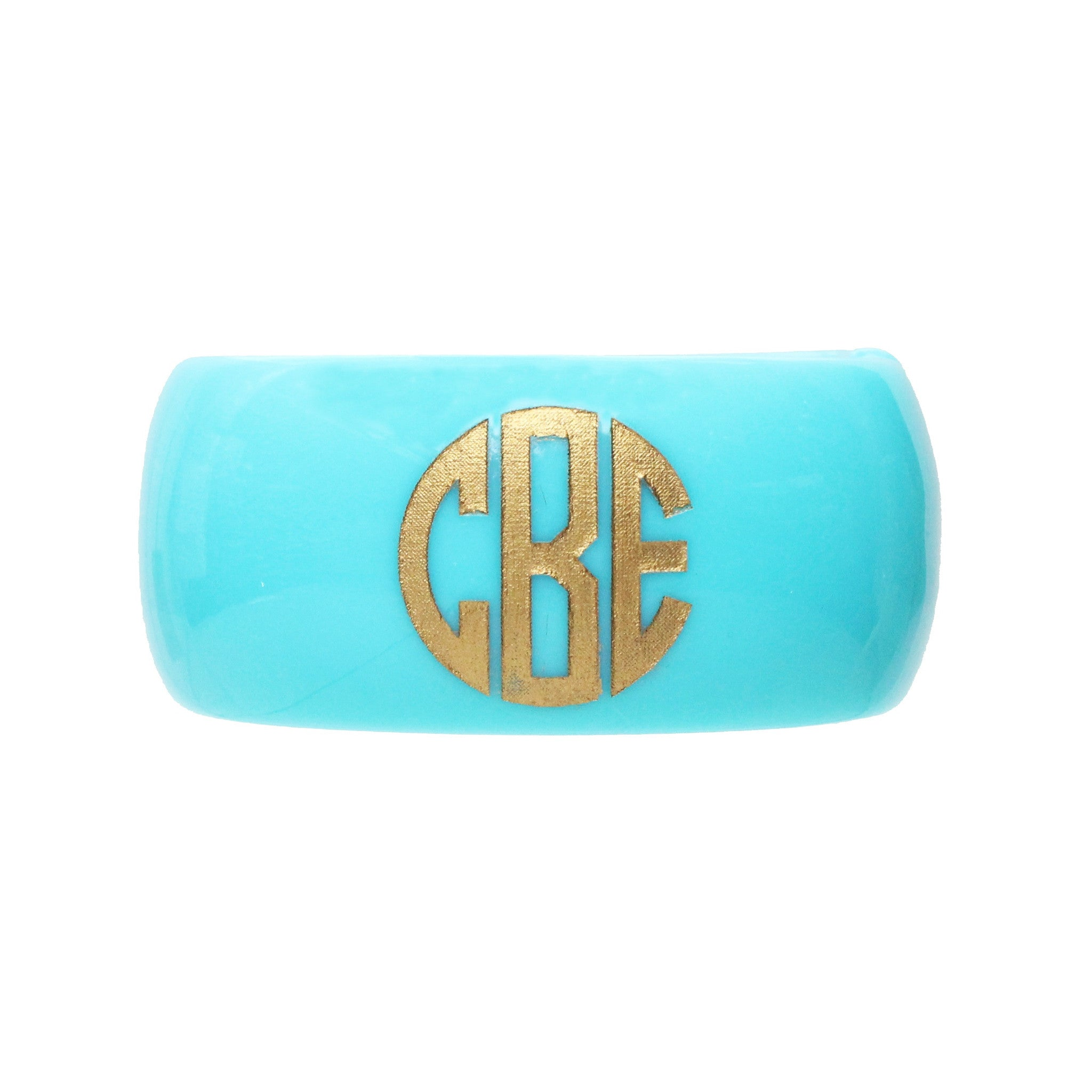 I found this at #moonandlola! - Parker Robin's Egg Block Font Monogram Bangle