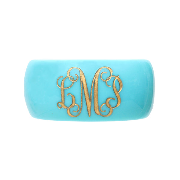 I found this at #moonandlola! - Parker Robin's Egg Vine Script Font Monogram Bangle