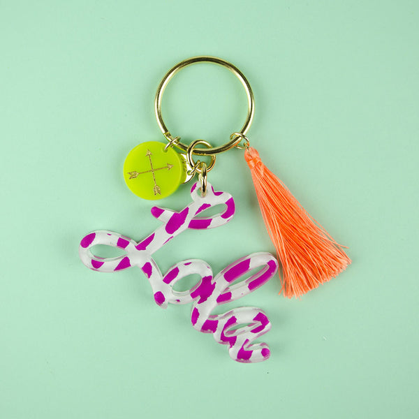 Moon and Lola - Patterned Nameplate Keychain with Charms