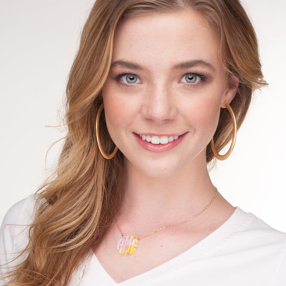 I found this at #moonandlola! - Patterned Block Monogram Necklace