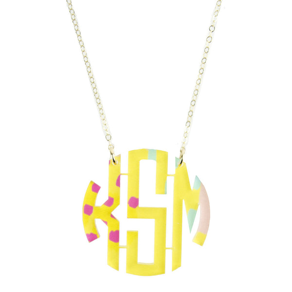 Moon and Lola - Patterned Block Monogram Necklace