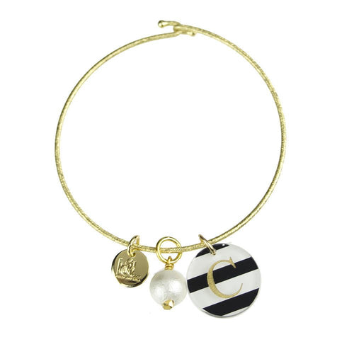 Moon and Lola - Cotton Pearl Charm on Nora Bangle with Patterned Dalton Charm