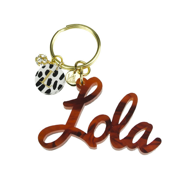 Moon and Lola - Patterned Dalton Charm on Keychain