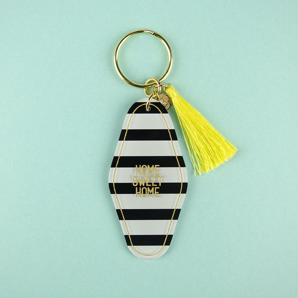 Moon and Lola - Patterned Hotel Keychain with Charms