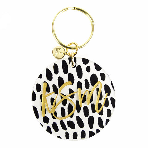 "Sample ""SES"" Patterned Script Keychain"