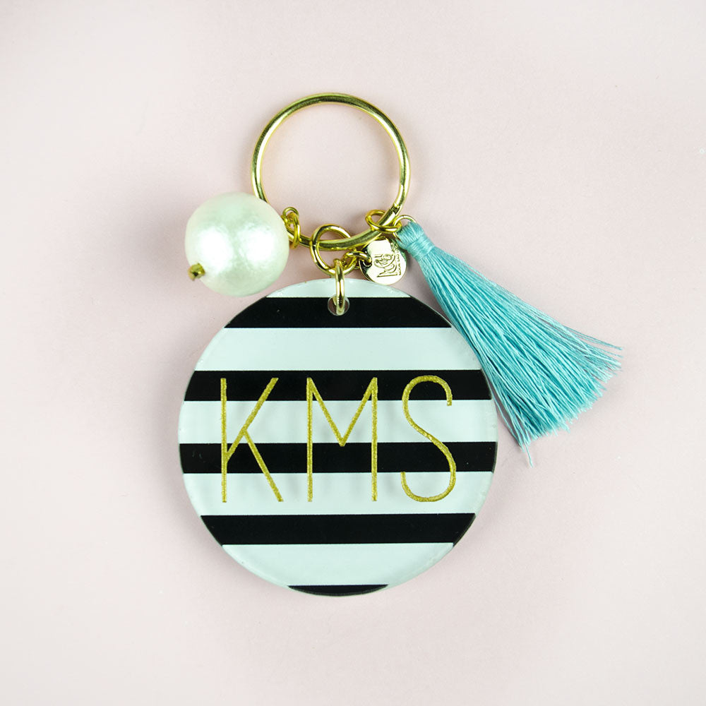 I found this at #moonandlola! - Patterned Modern Block Keychain with Charms