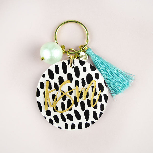 I found this at #moonandlola! - Patterned Script Keychain with Charms