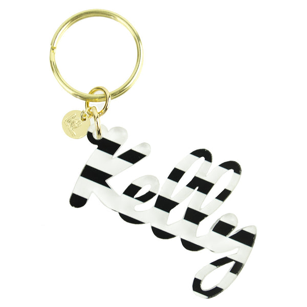 Moon and Lola - Patterned Nameplate Keychain