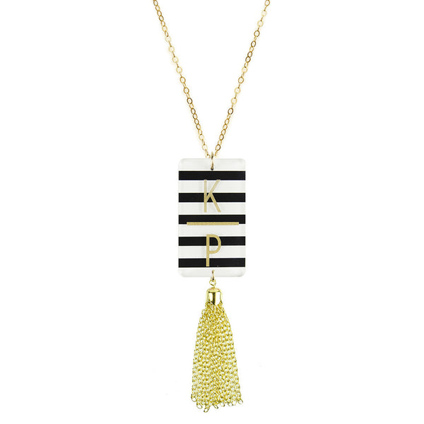 Moon and Lola - Patterned Rectangle Charm Tassel Necklace