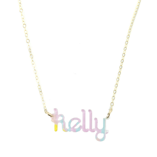 Moon and Lola - Patterned Zebra Nameplate Necklace
