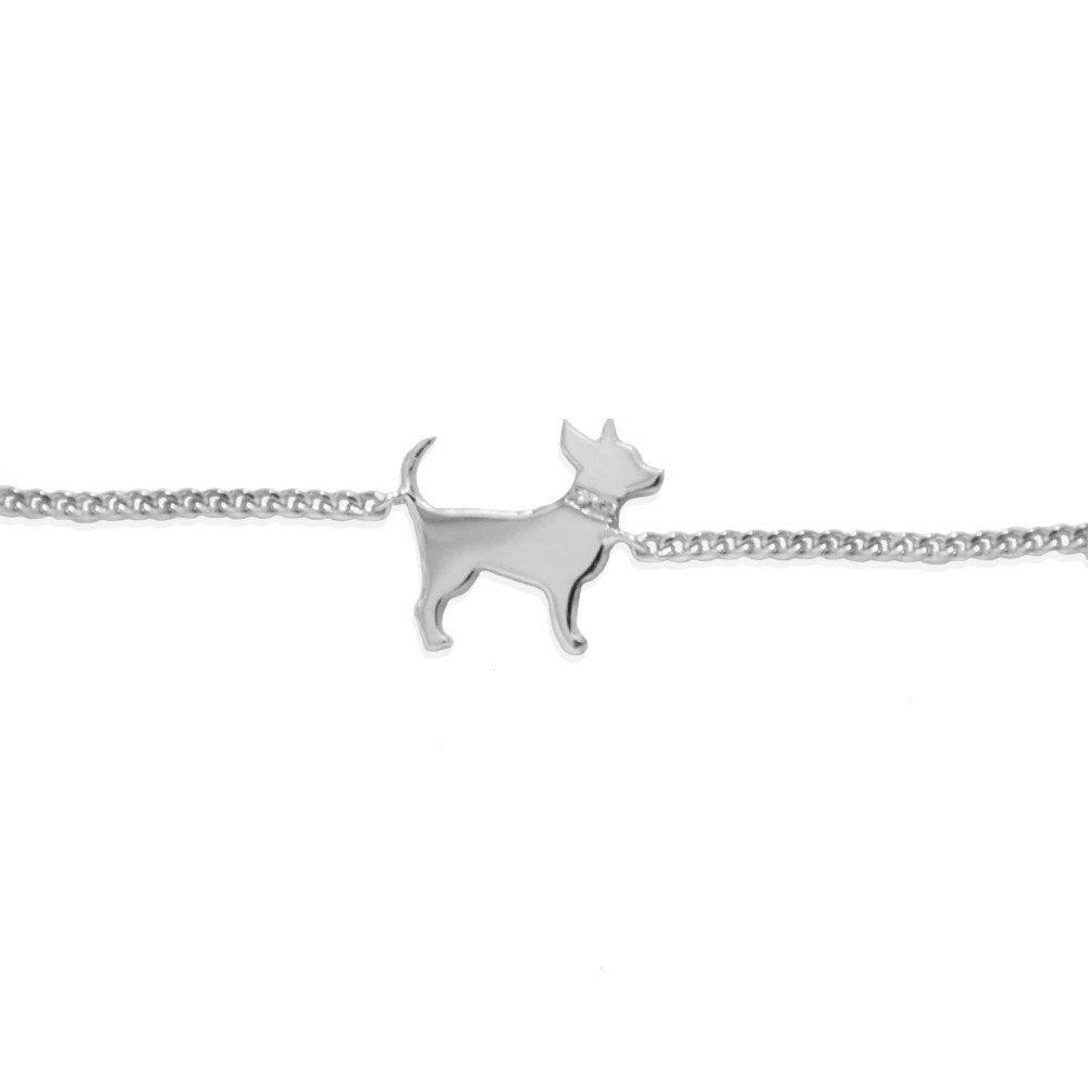 Moon and Lola - Petit Bijou Bracelet silver chihuahua with diamond collar