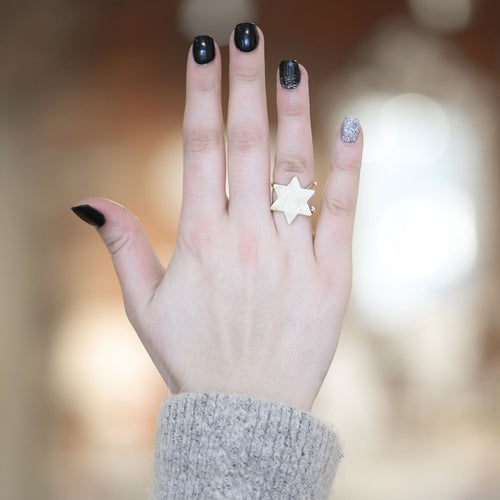 Moon and Lola Polaris Ring adjustable metal with star design