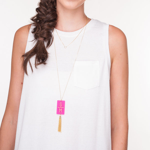 Moon and Lola - Rectangle Charm Tassel Necklace