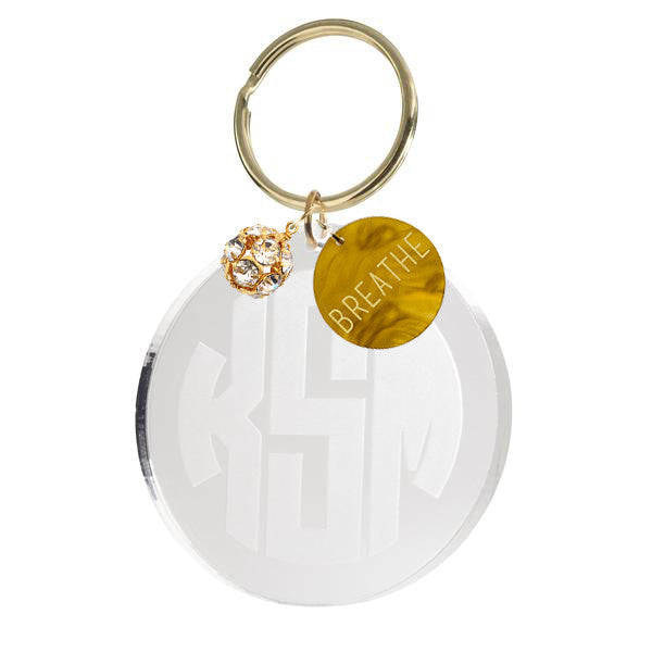 Moon and Lola - Reverse Engraved Monogram Keychain with Charms