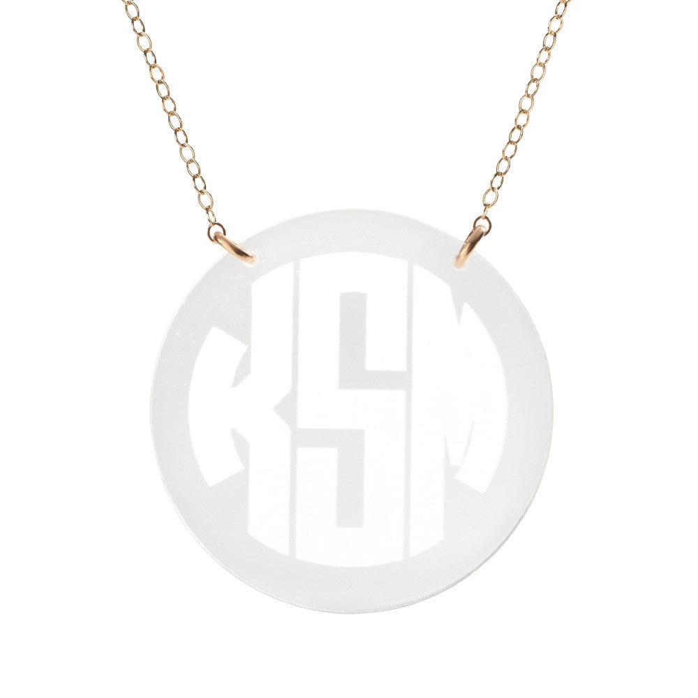 Moon and Lola - Reverse Engraved Monogram Necklace in crystal
