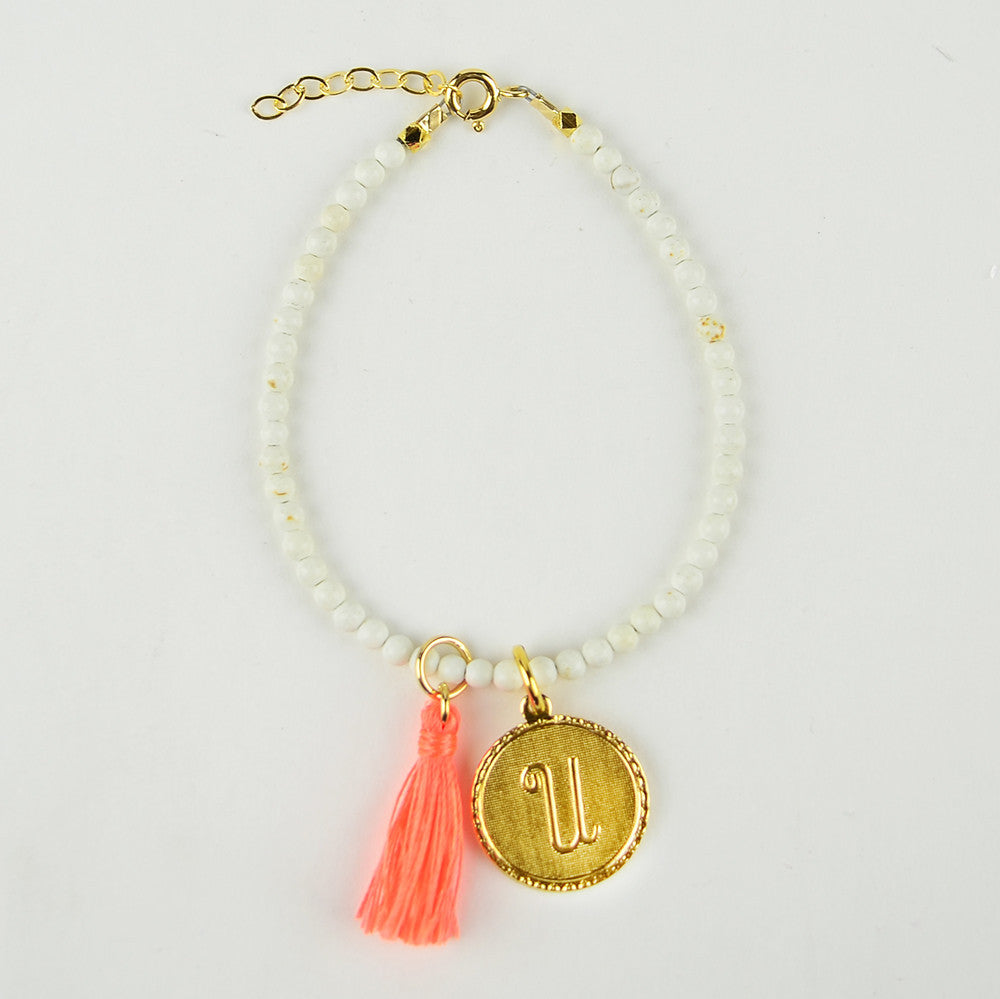 I found this at #moonandlola! - Rhea Bracelet White Turquoise with Charms