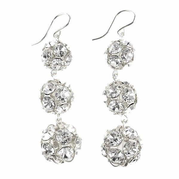 Europa Rhinestone Ball Graduated Earrings Sterling Silver