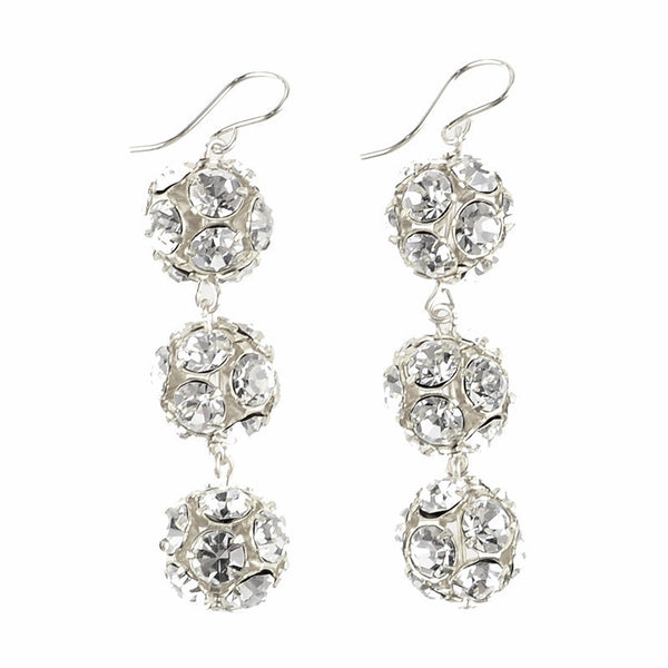 Europa Rhinestone Ball Earrings Large Sterling Silver