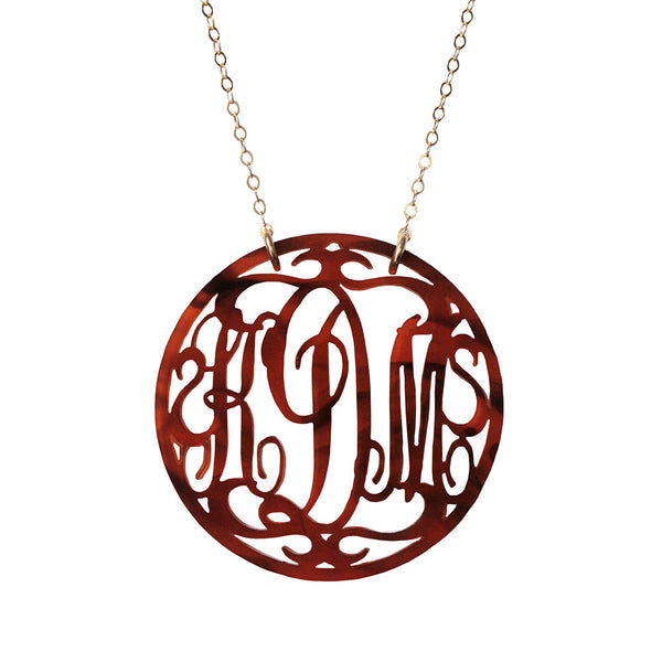 Moon and Lola - Rimmed Script Monogram Necklace
