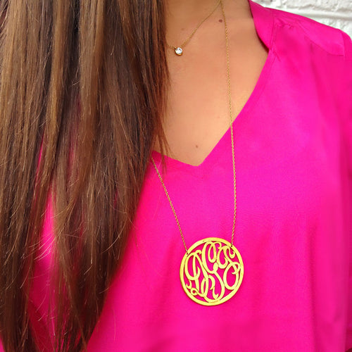 I found this at #moonandlola - Rimmed Script Monogram Necklace on model