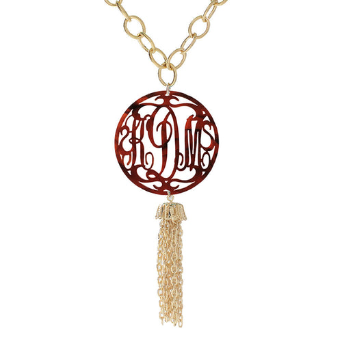 Rimmed Script Tassel Necklace