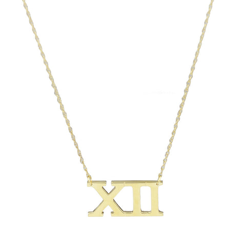 Moon and Lola - Metal Roman Numeral Necklace