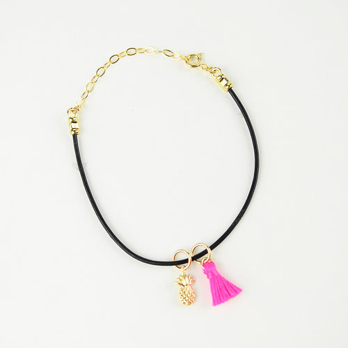 I found this at #moonandlola! - Leather Bracelet with Pineapple and Tassel Charms