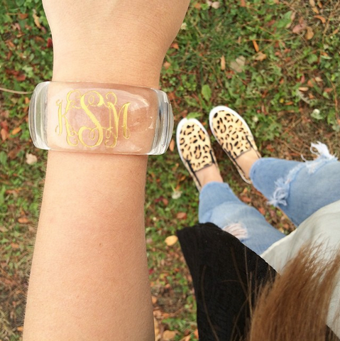 I found this at #moonandlola! - Parker Crystal Block Font Monogram Bangle