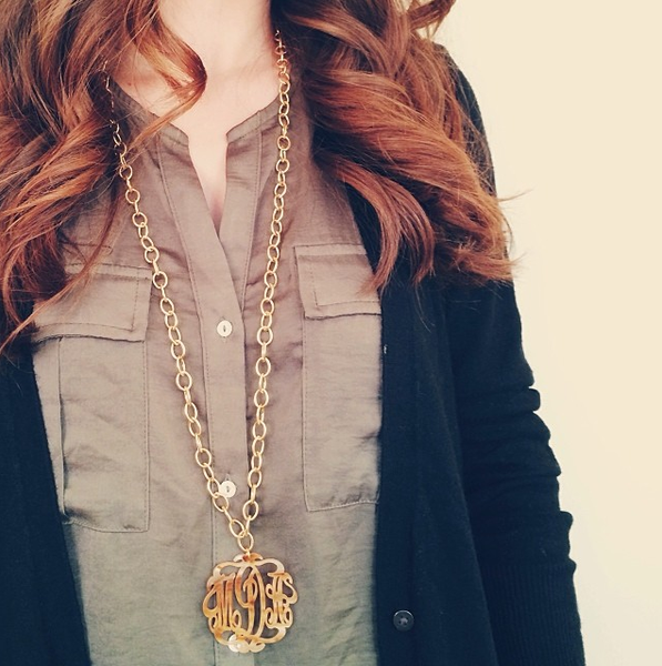 I found this at #moonandlola! - Script Monogram Necklace on Greenwich Chain on model