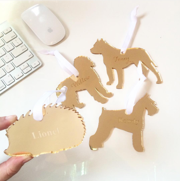 Moon and Lola - Goldendoodle Ornament Styled