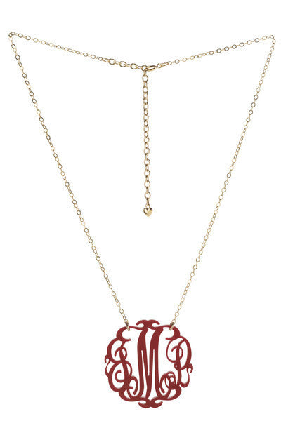 I found this at #moonandlola! - Paris Script Monogram Necklace in Garnet