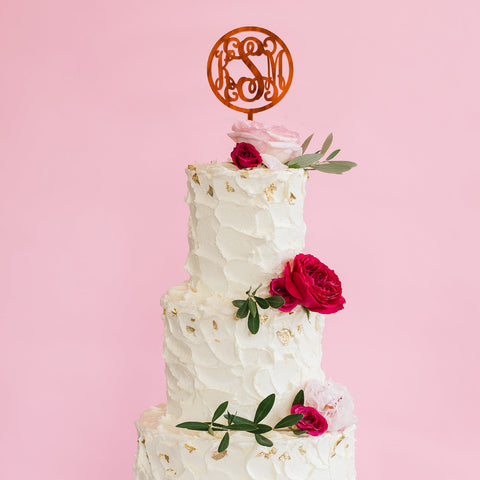 Moon and Lola - Script Monogram Cake Topper