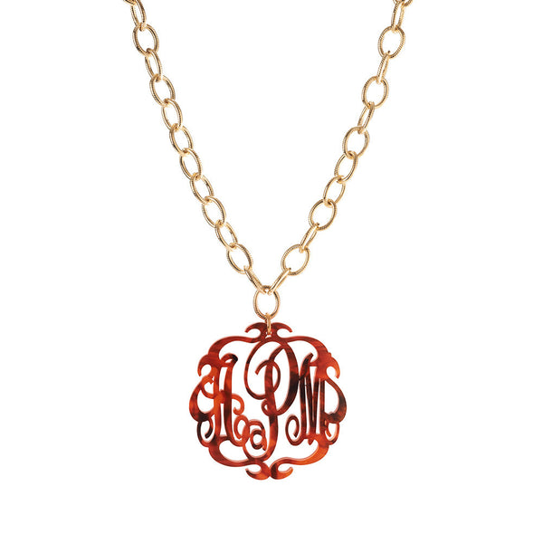 Moon and Lola - Acrylic Script Monogram Necklace on Greenwich Chain