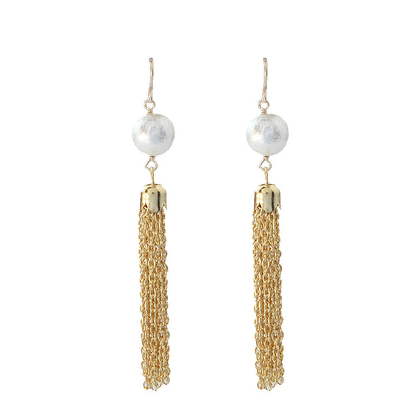 Moon and Lola - Artik Cotton Pearl Tassel Earring
