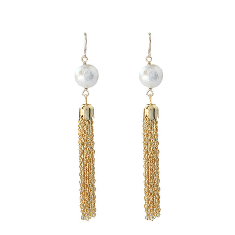I found this at #moonandlola! - Artik Cotton Pearl Tassel Earring