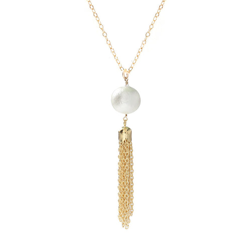 I found this at #moonandlola! - Artik Cotton Pearl Tassel Necklace