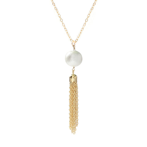 Moon and Lola - Artik Cotton Pearl Tassel Necklace