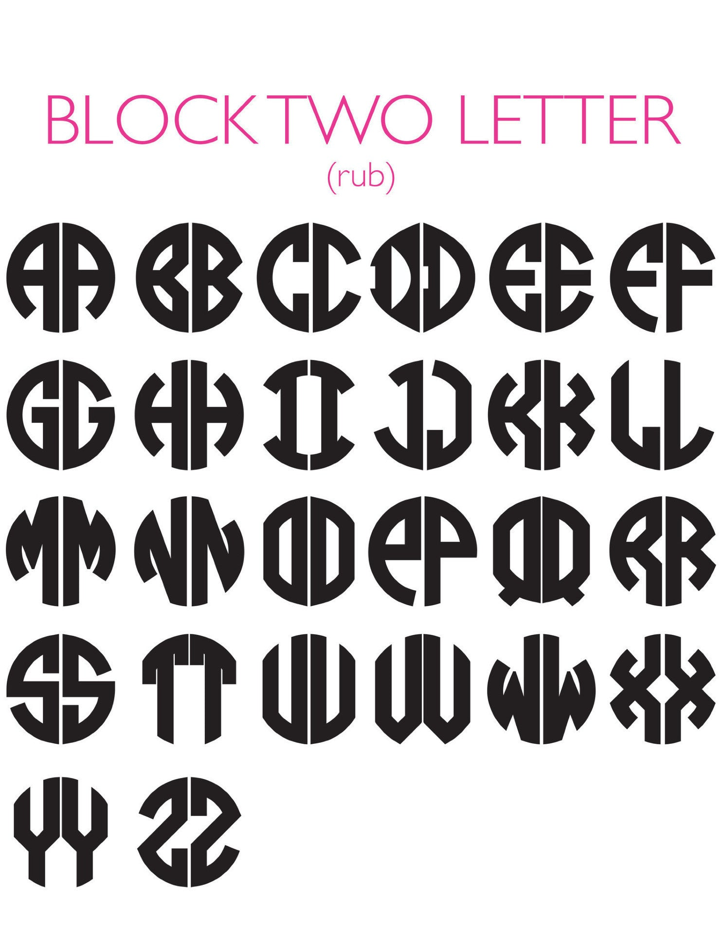 I found this at #moonandlola! - Block Two Letter Monogram Chart