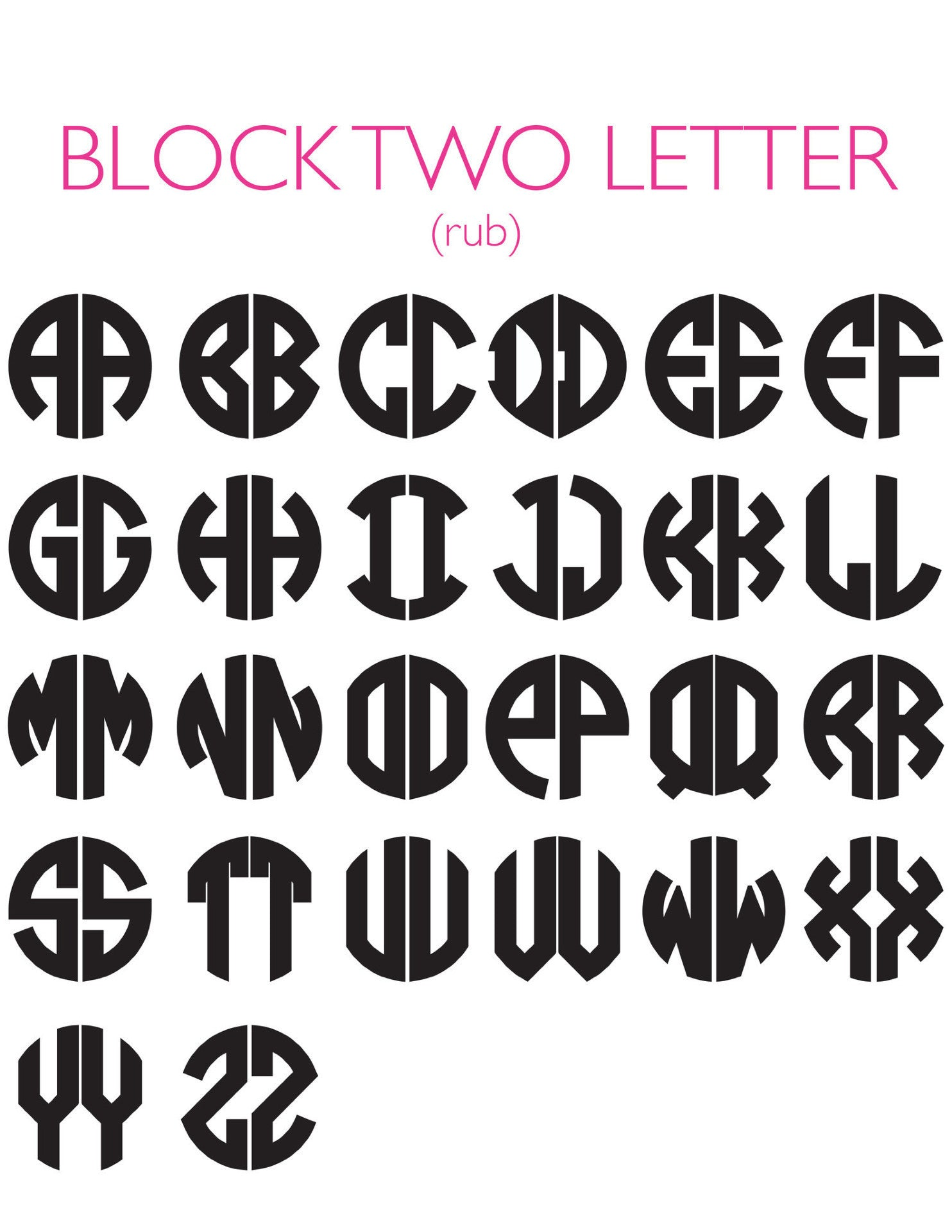 I found this at #moonandlola! - 2 Letter Block Font Chart