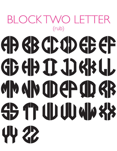 Moon and Lola - 2 Letter Block Font Chart